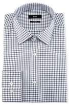 BOSS Slim-Fit Tattersall Dress Shirt, Navy/White