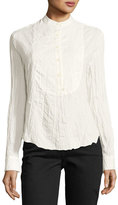 Derek Lam 10 Crosby Long-Sleeve Button-Front Tuxedo Gauze Shirt