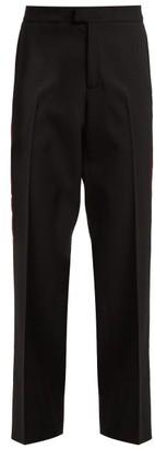 Wales Bonner Side-stripe Stretch-wool Trousers - Womens - Black Multi