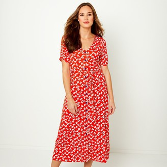 Joe Browns Printed Buttoned Midi Dress with Short Sleeves