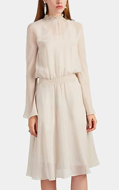 Giorgio Armani Women's Smocked-Collar Silk Chiffon Blouson Dress - Cream