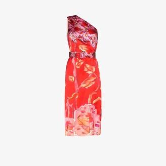 Peter Pilotto Floral Print Silk Midi Dress
