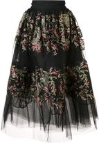 Marchesa floral embroidered sheer skirt
