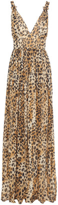 Ronny Kobo Gathered Leopard-print Georgette Maxi Dress