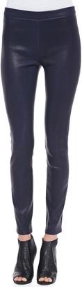 J Brand Edita Leather Pull-On Leggings, Black Amethyst