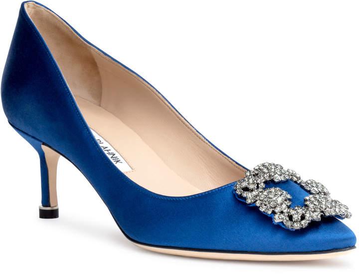 Manolo Blahnik Hangisi 50 Royal Blue satin pump