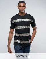 Asos Tall Oversized T-shirt With Rainbow Sequin Stripe