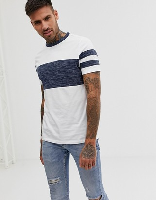 Asos DESIGN t-shirt with contrast body and sleeve panels in interest fabric in white