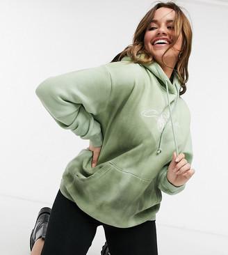 Daisy Street Plus oversized hoodie in dark tie dye with california print co-ord