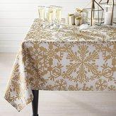 Crate & Barrel Golden Snowflake Tablecloth