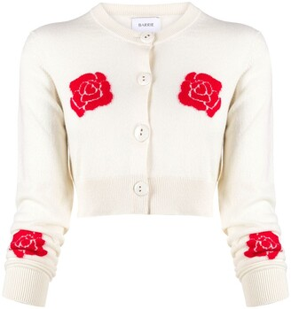 Barrie Roses Intarsia Cropped Cardigan