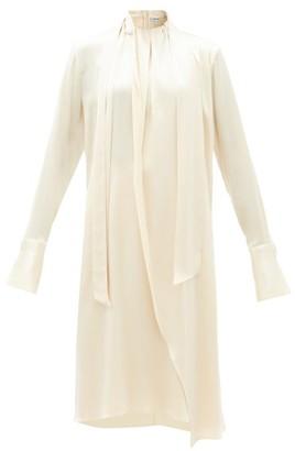 Loewe Gathered-neck Draped Asymmetric Satin Dress - Ivory