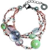 Antica Murrina Veneziana Redentore 1 - Pink and Green Murano Glass Drops & Silver Leaf Bracelet
