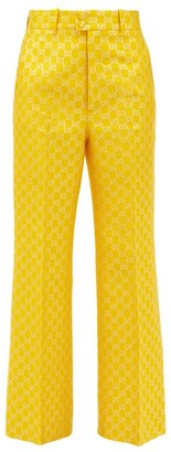 Gucci Flared Gg-jacquard Trousers - Yellow