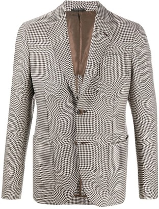 Giorgio Armani Houndstooth Single Breasted Blazer