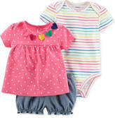 Carter's 3-Pc. Cotton Shirt, Bodysuit & Shorts Set, Baby Girls