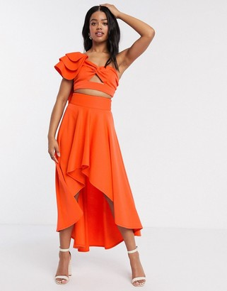 Laced In Love statement high low skirt co-ord in orange