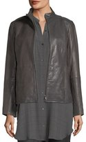 Eileen Fisher Rumpled Leather Zip-Front Jacket