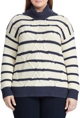 Chaps Plus Striped Turtleneck Sweater