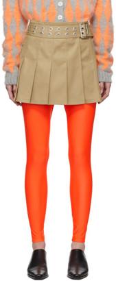 Junya Watanabe Beige Pleated Miniskirt