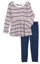 Splendid Girl's Stripe Peplum Top & Leggings Set