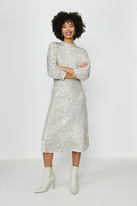 Coast Blouson Sleeve Sequin Midi Dress