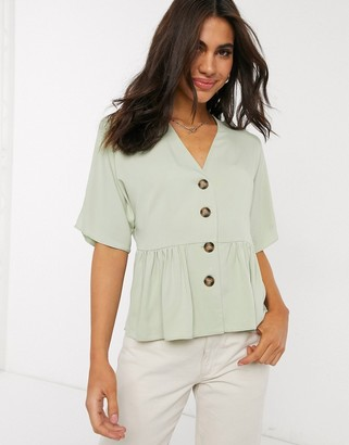 Asos DESIGN peplum top with contrast buttons in sage