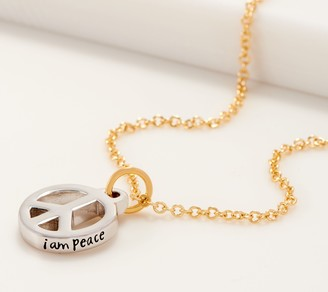 """Peace Love World Polished Motif Necklace with 18"""" Chain"""