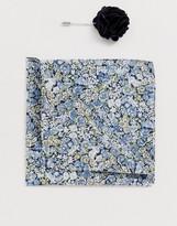Gianni Feraud Liberty print painted journey cotton pocket square and lapel pin set