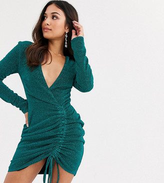 Club L London Petite glitter plunge front mini bodycon dress in teal-Blue