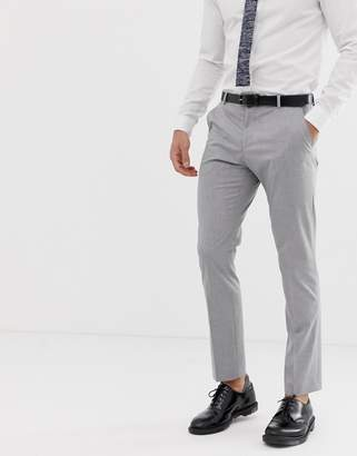 Selected slim fit suit pants with stretch in light gray
