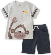 Kids Headquarters Gray Monkey Tee & Navy Shorts - Infant Toddler & Boys