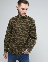 Penfield Gridley Camo Shirt Classic Regular Fit Ripstop In Green