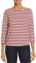 Three Dots Stripe Boat-Neck Top