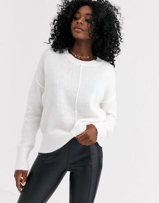 New Look crew neck reverse seam jumper in off white