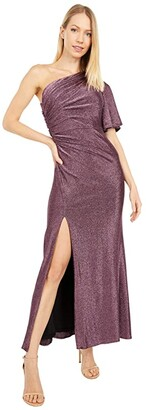 Adrianna Papell Petite One Shoulder Metallic Knit Side Draped Mermaid Gown (Amethyst) Women's Dress