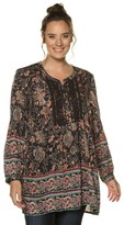 Ulla Popken Printed V-Neck Tunic with Long Sleeves
