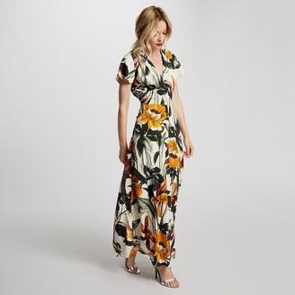 Morgan Tropical Print Maxi Dress with Short Sleeves