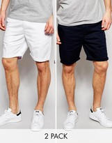 Asos 2 Pack Slim Chino Shorts In White & Navy SAVE