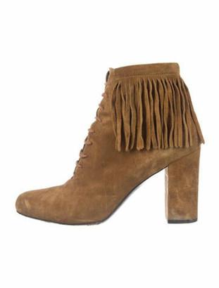 Saint Laurent Suede Fringe Trim Accent Lace-Up Boots Brown