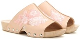 Alexander McQueen Embroidered leather clogs