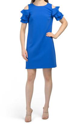 Solid Scuba Crepe Cold Shoulder Shift Dress