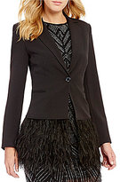 Gianni Bini Lizzy Notch Lapel Collar Feather Trim Solid Crepe Blazer