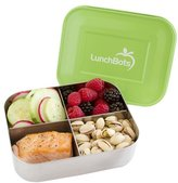 LunchBots Quad Stainless 4-Compartment Container, Green Lid