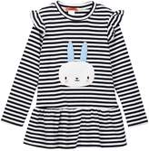 Funkyberry Ruffle Detail Stripe Bunny Dress (Toddler & Little Girls)