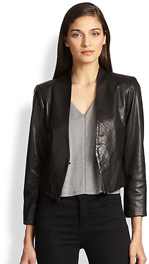 Alice + Olivia Amaya Cropped Leather Blazer