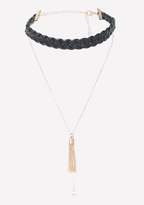 Bebe Braided Faux Leather Choker