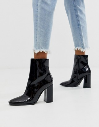 Public Desire Ashton block heeled ankle boot in black patent