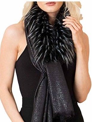 """Pia Rossini Womens Black Evening Wear Scarf""""Genevieve"""" Ladies Faux Fur Scarf - One Size"""