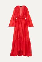 RASARIO - Ruffled Silk-chiffon Jacket - Red